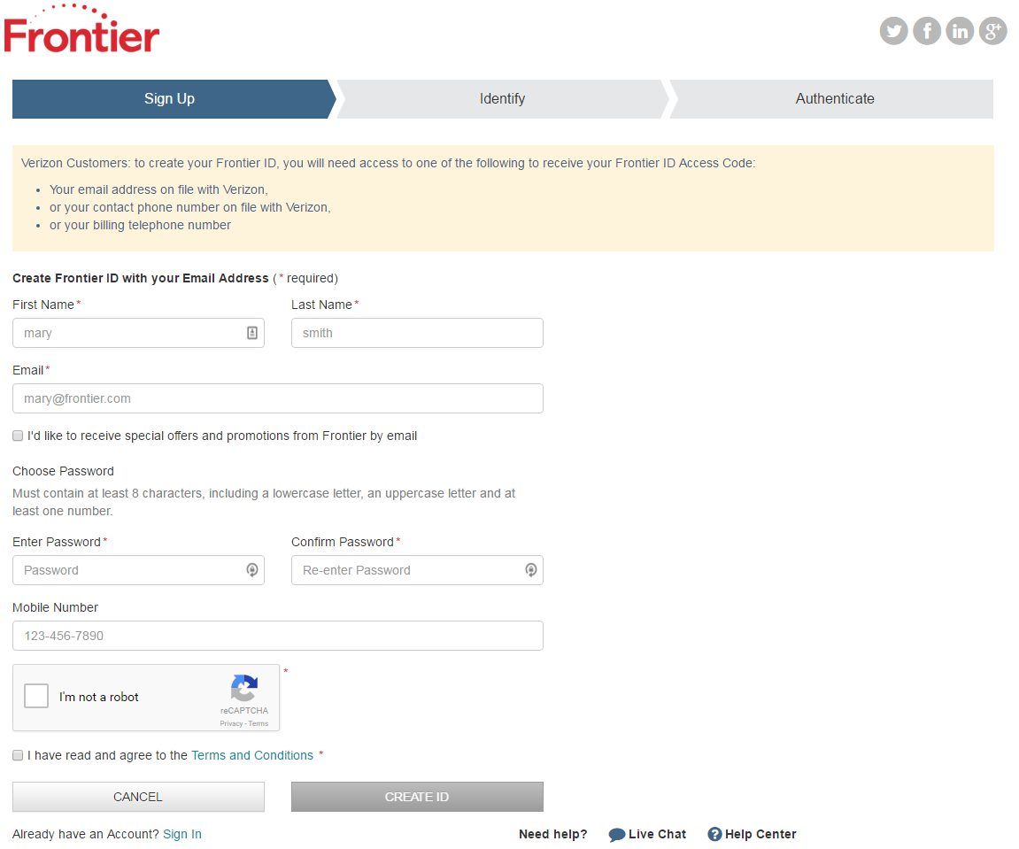 frontier mail signup