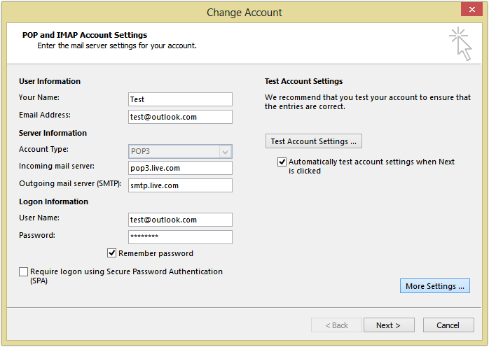 outlook.com mail settings