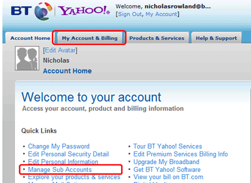 bt yahoo sub account