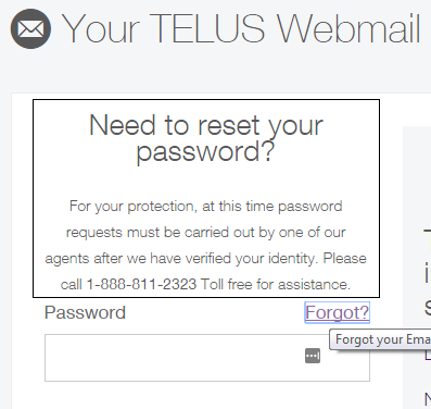 telus webmail reset password
