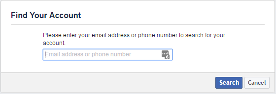 Facebook email login reset password