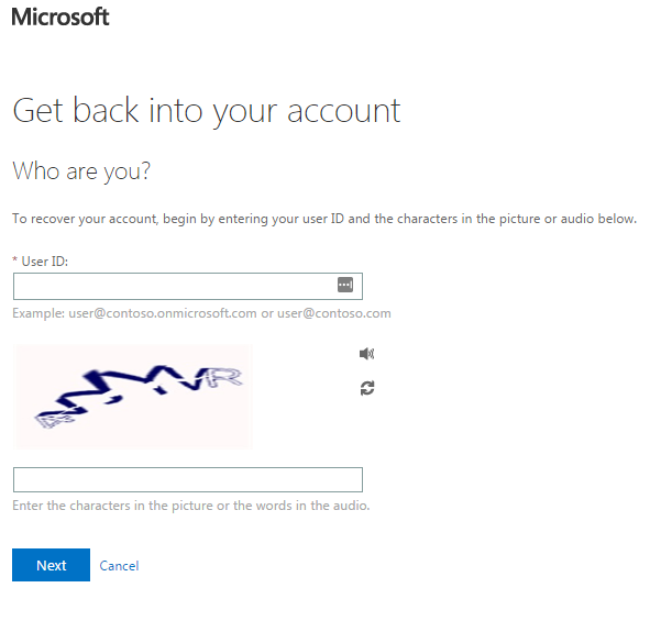 office 365 password reset