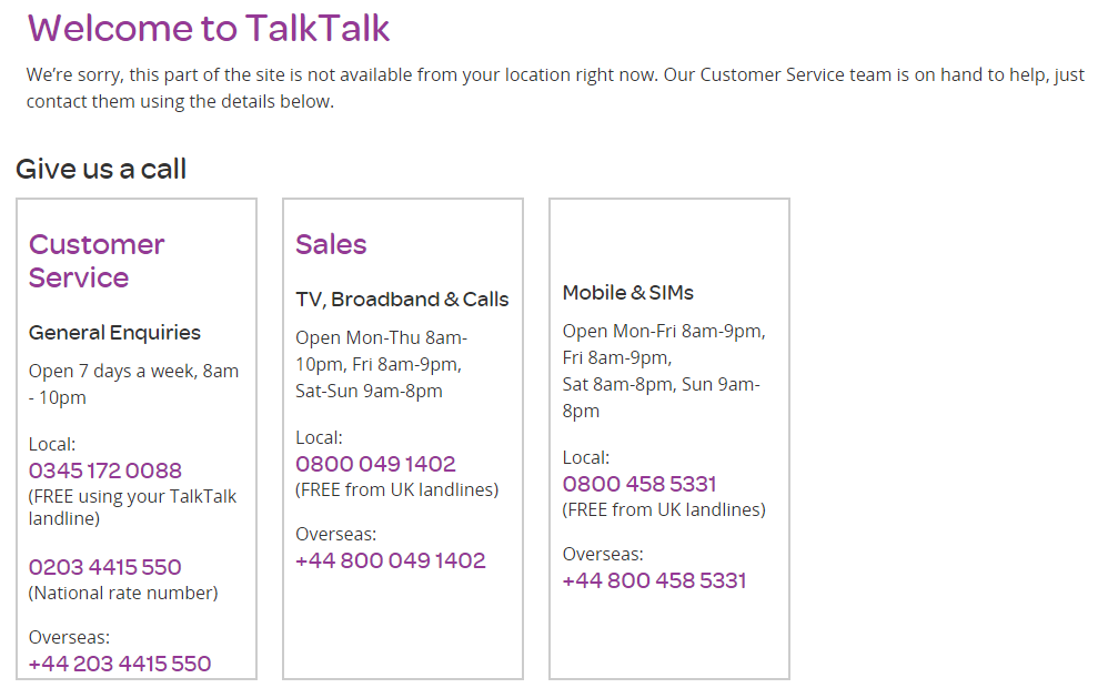 talktalk support