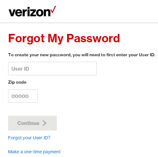 verizon forgot my password