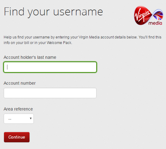 virgin media recover username