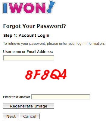 iwon email login reset password
